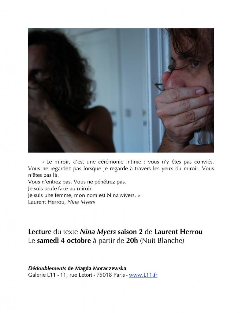 Lecture de Laurent Herrou, exposition Dédoublement de Madga Moraczewska